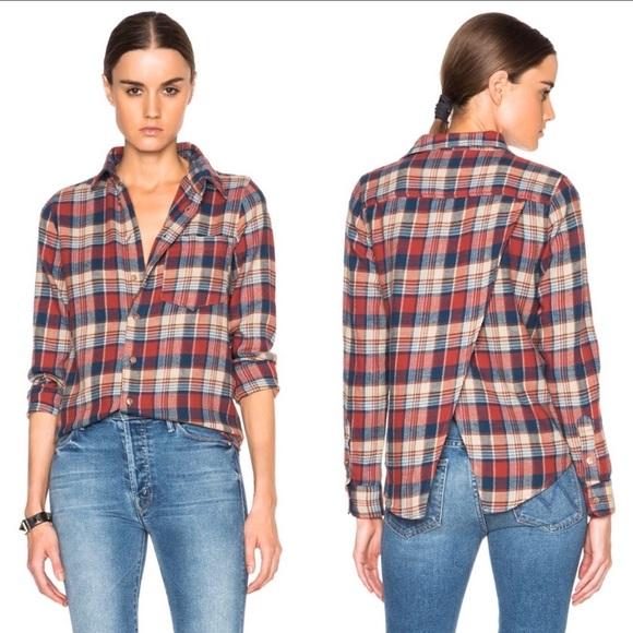790e89d811 💎MOTHER Breezy Foxy Plaid Button Up Shirt. M 5c097ee77386bcdd170ec3fc